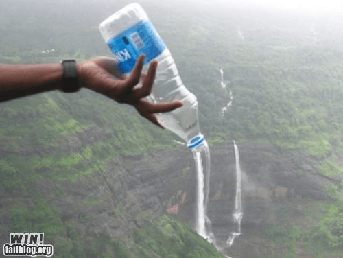 clever,perspective,photography,water bottle,waterfall,wincation
