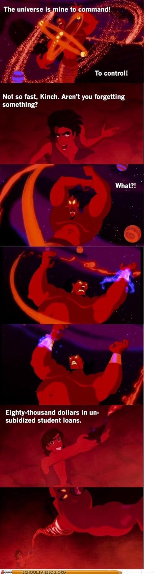 aladdin,genie,jafar,mistake,student debt,universe
