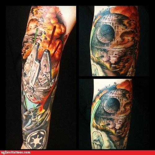 arm tattoos,Death Star,g rated,star wars,Ugliest Tattoos