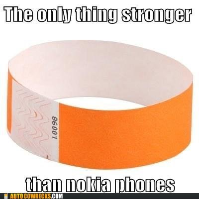 AutocoWrecks,g rated,nokia phones,short list,stronger,wrist bands