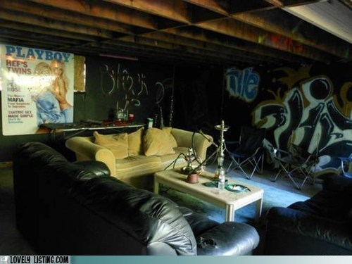 graffiti,hookah,leather couch,playboy poster