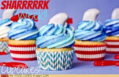 Blood,cupcakes,frosting,fruit filling,shark week,waves