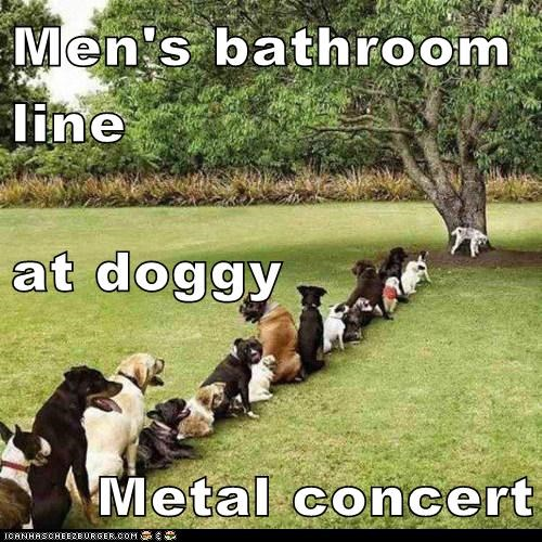 Men's bathroom line at doggy Metal concert
