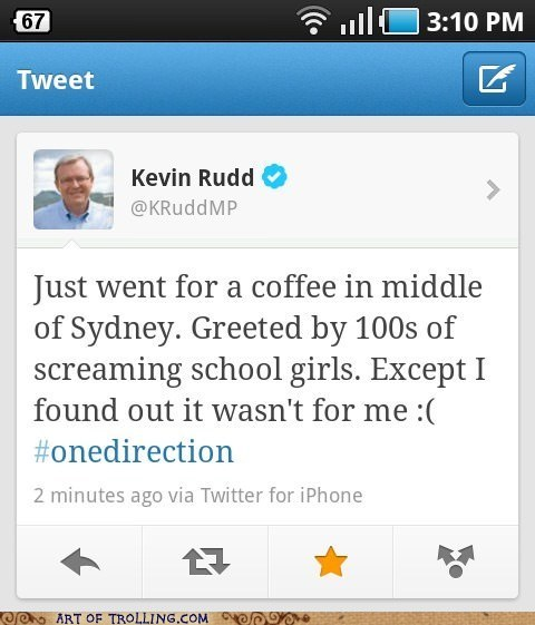 celeb,Kevin Rudd,one direction,politics,twitter