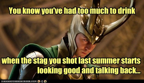 avengers,drunk,horns,loki,stag,talking,tom hiddleston