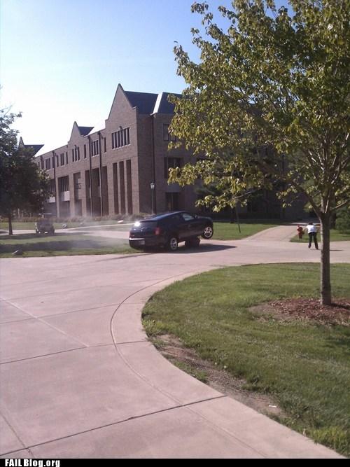 car,college campus,driving,rock