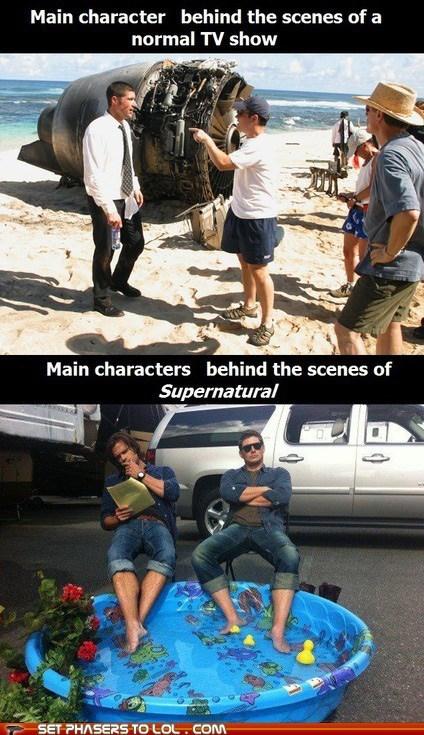 behind the scenes,j-j-abrams,Jared Padalecki,jensen ackles,kiddie pool,lost,rubber ducks,Supernatural