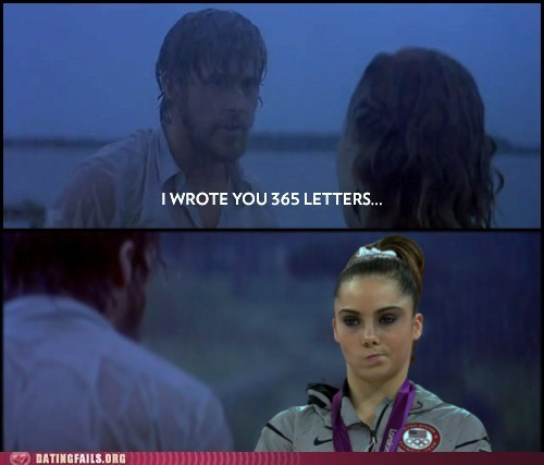 creeped out,Ryan Gosling,the notebook,unimpressed McKayla