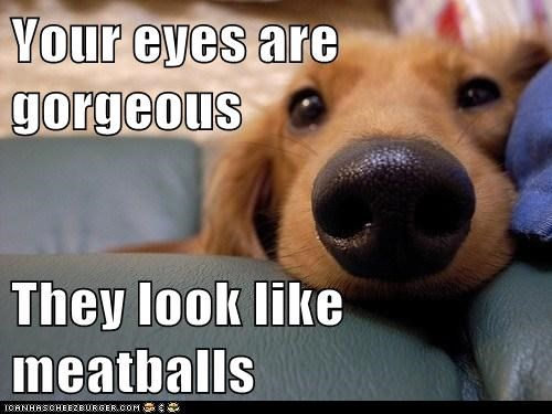 Your eyes are gorgeous   They look like meatballs