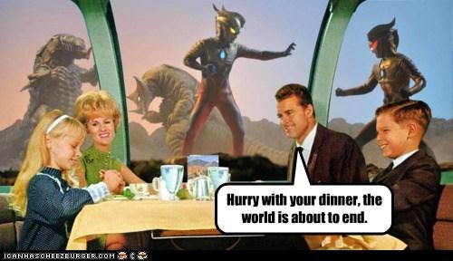 dinner,end of the world,family,monster,restaurant