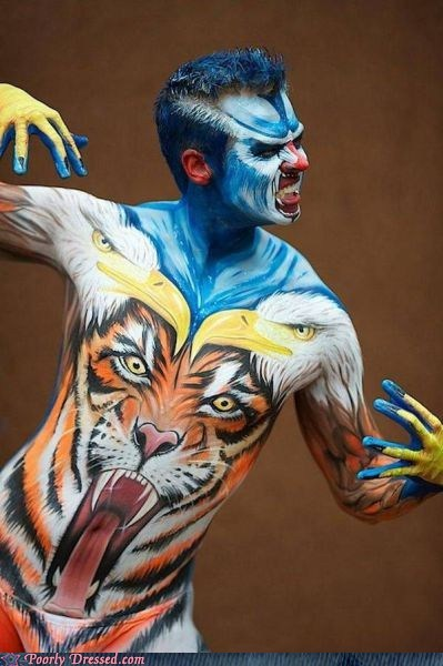 animals,art,body paint