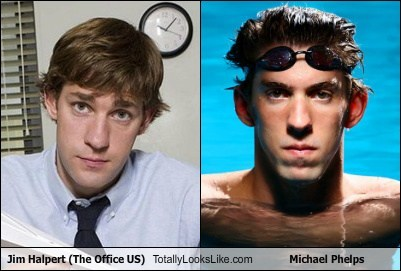 John Krasinski (Jim Halpert, The Office US) Totally Looks Like Michael Phelps