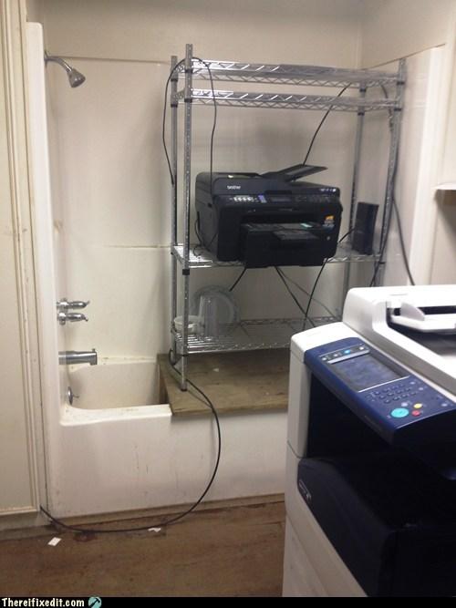bathroom,copier,copy machine,fax machine,printer,shelf,shower