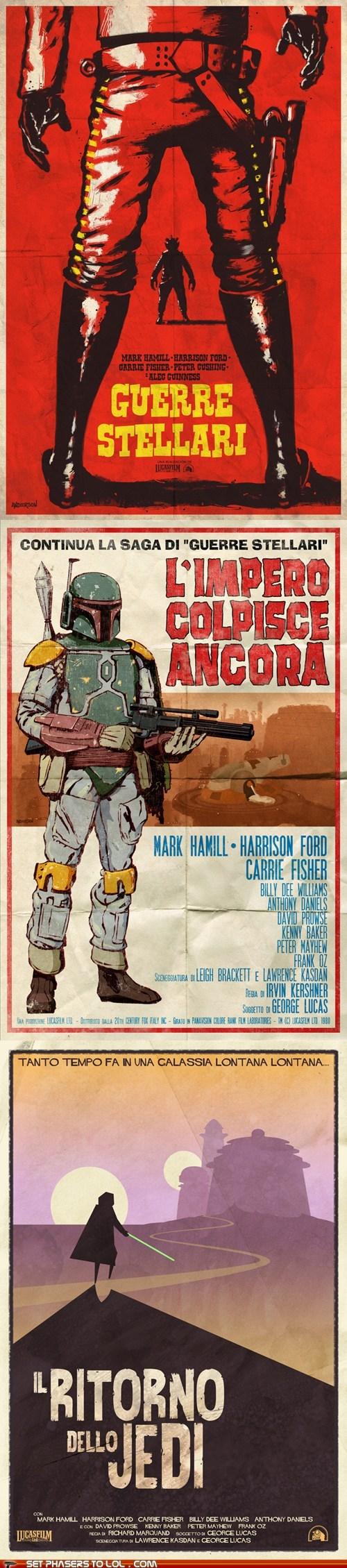 boba fett,italian,poster,return of the jedi,spaghetti western,star wars,The Empire Strikes Back