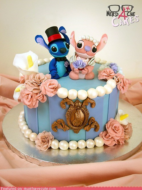 amazing,cake,epicute,fondant,lilo and stitch,wedding