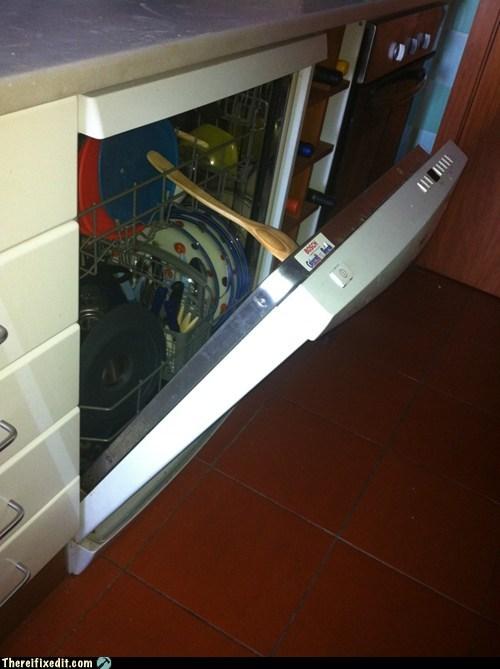 dishwasher,dishwasher door,wooden spoon