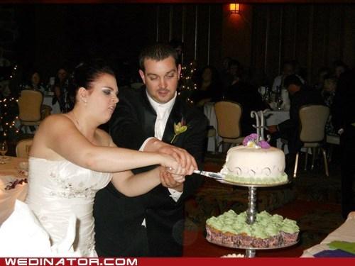 bride,cake,cutting cake,derp,faces,funny wedding photos