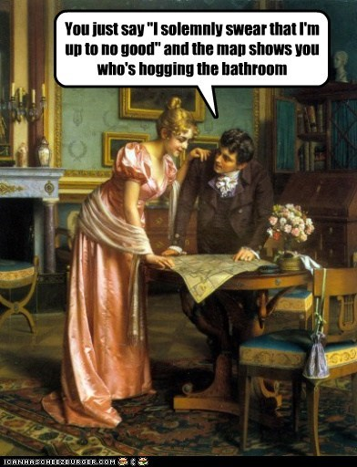 bathroom,man,map,marauders map,woman