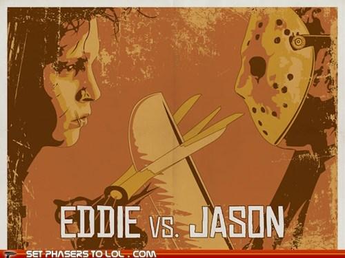 Edward Scissorhands,FanArt,freddy-vs-jason,friday the 13th,jason,mashup,poster,pun