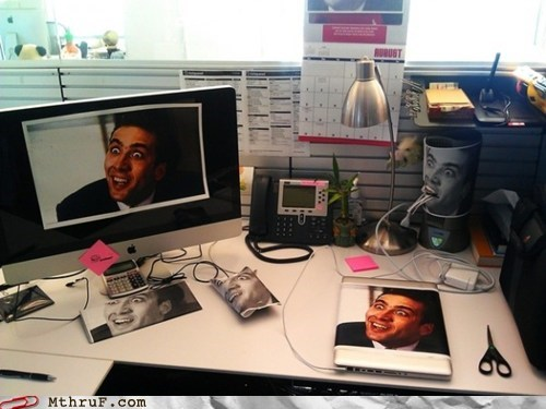 Somebody Put Nicolas Cage All Over My Desk!
