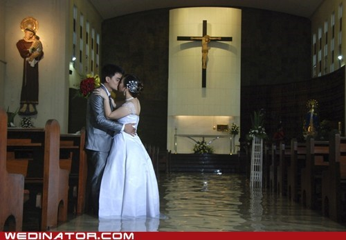 aisle,bride,church,flood,funny wedding photos,groom