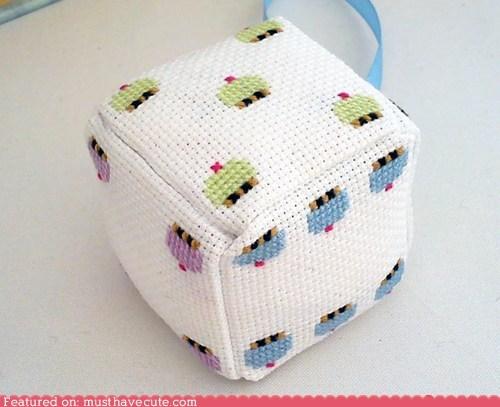 cross stitch,cupcakes,dice,fabric