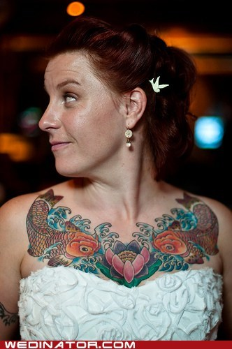 brides,carp,fish,funny wedding photos,koi,tattoos