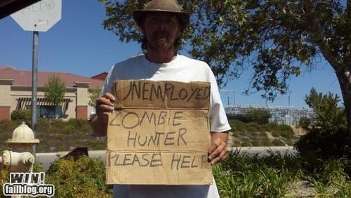 employment,panhandling,sign,zombie