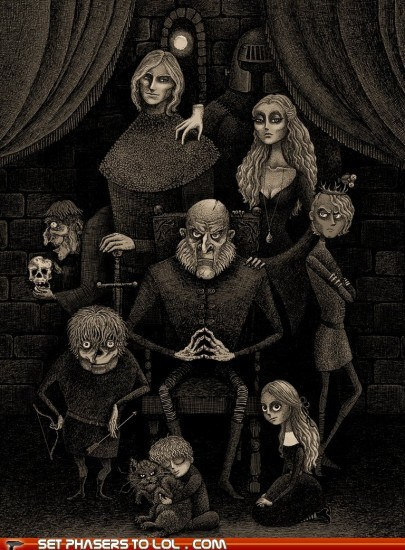 addams family,FanArt,Game of Thrones,jaime lannister,joffrey baratheon,Lannisters,tyrion lannister