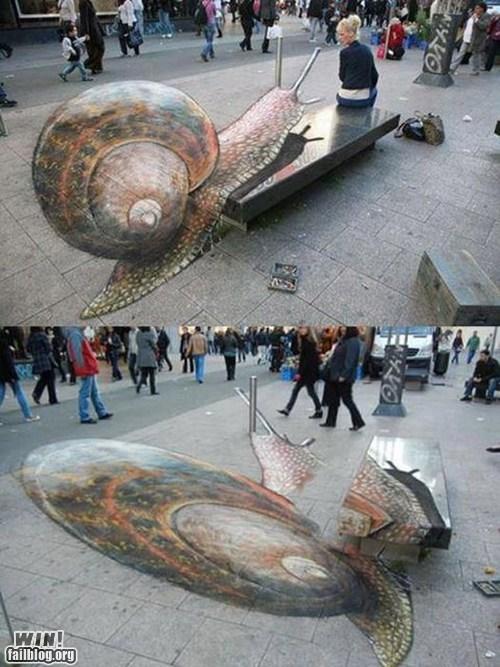 chalk art,illusion,perspective,snail,Street Art