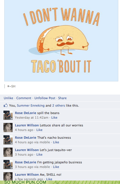 about,facebook,Reframe,similar sounding,taco,talk,variations on a theme