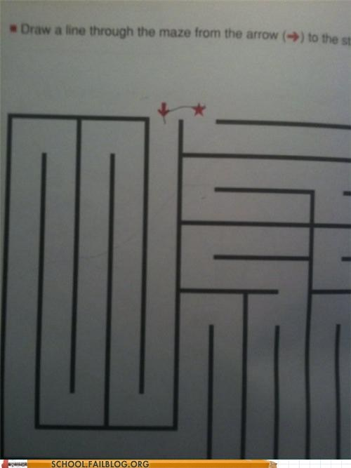 clever,maze,test humor,thinking outside the maze