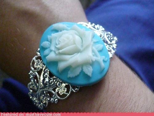 blue,bracelet,cameo,rose,silver