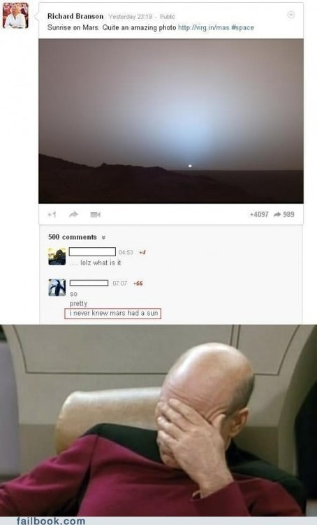 Failbook: Don't Know if Mars Has a Sun? Launch Yourself Into It and Find Out...