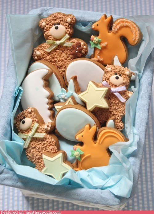 cookies,eggs,squirrel,stars,teddy bears