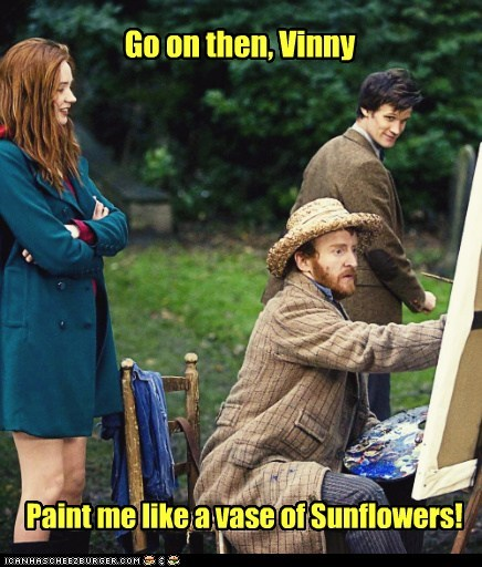 amy pond,doctor who,go on,karen gillan,Matt Smith,painting,sunflowers,the doctor,Vincent van Gogh