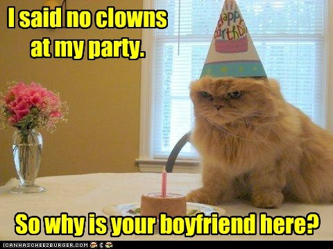 birthday party,boyfriend,captions,Cats,clowns,Party