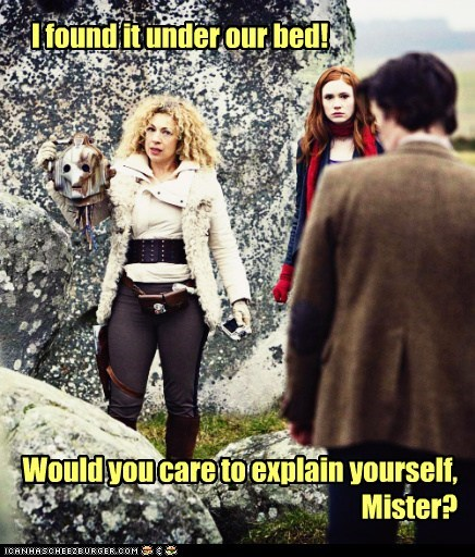 alex kingston,amy pond,bed,cyberman,explain yourself,found,karen gillan,Matt Smith,River Song,the doctor