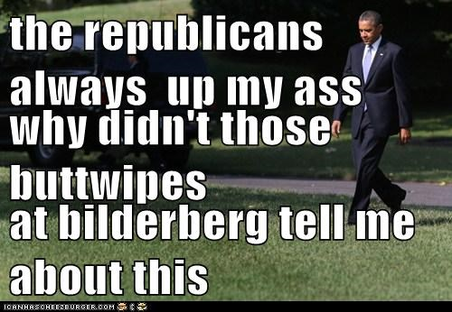 the republicans always  up my ass why didn't those buttwipes at bilderberg tell me about this
