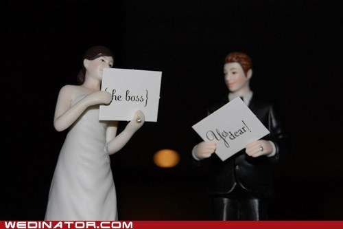 boss,bride,figurines,groom,signs