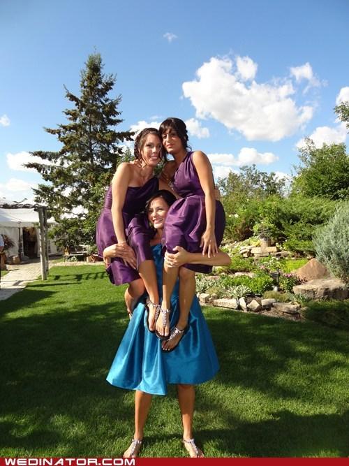 bridesmaids,funny wedding photos,lifting,power,strength