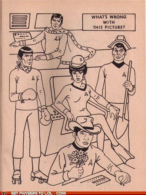 activity,Captain Kirk,coloring book,McCoy,Spock,Star Trek,sulu,the original series,uhura,whats-wrong