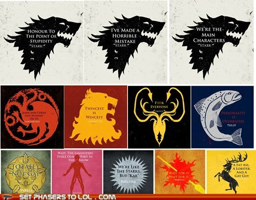 Honest Game of Thrones House Words