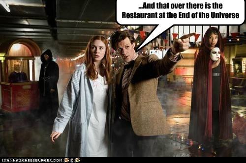 amy pond,doctor who,Douglas Adams,karen gillan,Matt Smith,the doctor,The Restaurant at the End of the Universe