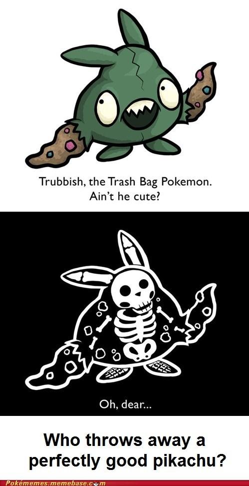gen V,pikachu,trash bag,trubbish