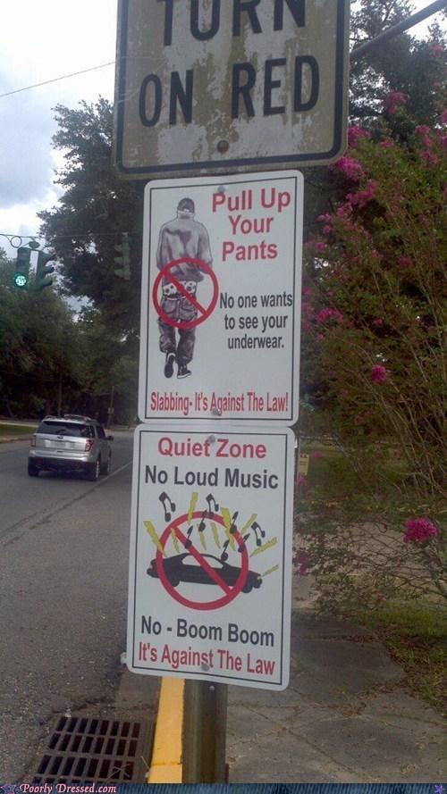 saggy pants,slabbing,street signs