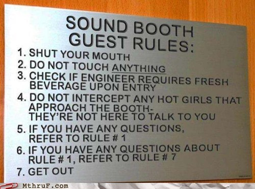 fight club,guest rules,sound booth,sound booth guest rules,sound booth rules