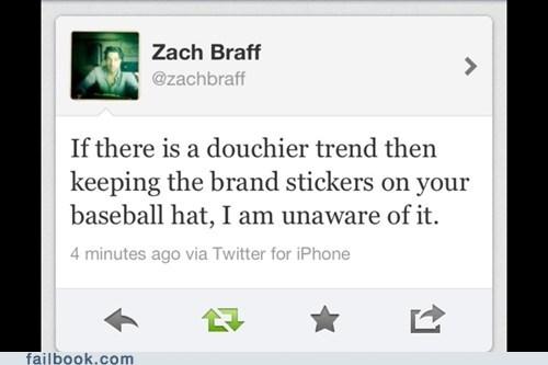 baseball caps,brand sticker,tweet,twitter,Zach Braff