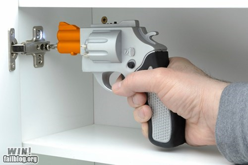 clever,design,DIY,drill,gun,revolver