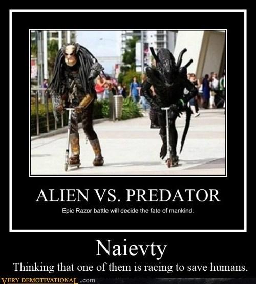 alien,naivety,Predator,razor scooter